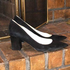 Marc Fisher Black Suede Pointy Toe Zala Pump Heels